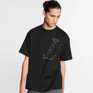 20SS Мода High-End Классический логотип вышивки Tee High Street Solid Короткие рукава Простой Мужчины Женщины Лето дышащий Футболка HFYMTX819
