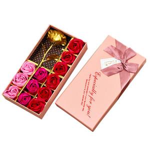 الزفاف 24K الذهب احباط زهرة 12PCS / هدية مجموعة رومانسية روز زهرة حزب الصابون عيد الأم الديكور المنزلي