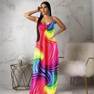 Версия для печати летнего платья дизайнера Sexy Spagetti ремень V шея платье Сука панелей Gradient Клотес Womens Радуга Полосатого