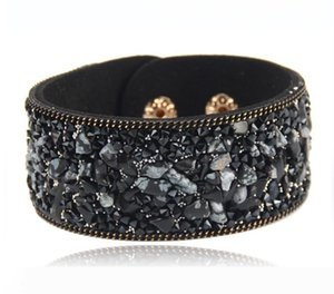 High Quality Women Wide Leather Bangle Cuff Jewelry Crystal Small Stone with Magnet Clasp Bracelets for Girl Gifts YN