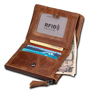 Joyir Hot selling male money clip wallet genuine cow crazy horse leather short money clip Anti-theft brush brown wallet
