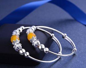 marca de qualidade superior pulseiras de prata novas crianças de prata pulseira de S990 finos com quartzo topázio jóias de prata vendedor de fábrica DDS0440