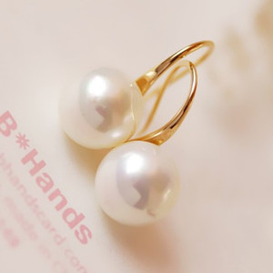 925 Sterling Silver Women Elegant Round Artificial Pearl Hook Pierced Dangle Earrings Fashion New Jewelry designer jewelry earring