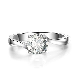 Ювелирные изделия Оптовая Новый американский GIA сертификат New Design Square Cut австрийских кристаллов помолвки кольца Мода для женщин