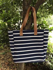 Estilo Mulheres Striped Bolsa de Ombro Canvas Bohemian Tote Bolsas Compra fêmea Big Bags Casual Bolsas Messenger Bag de armazenamento GGA3023-2