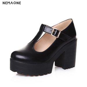 NEMAONE Nueva moda para mujer zapatos gruesos zapatos de tacón alto plataforma zapatos mujer primavera otoño bombas T-correa damas