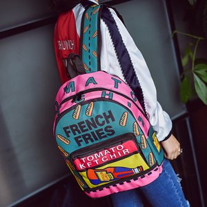 New shoulder bag school bag middle school students fashion casual personality graffiti letter backpack student