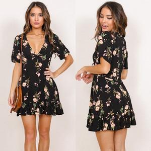 Recentemente Moda Doce Mulheres senhoras verão vestido V-Neck Floral Imprimir Ruffles A-Line do joelho Vestido Tamanho S / M / L / XL