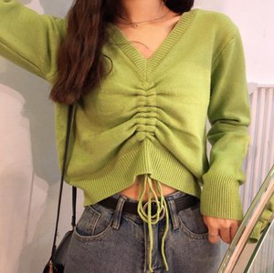 Для женщин Свитера Осень Авокадо Зеленый пуловер свитер V-образным вырезом Sexy Drawstring Связали Bandwidth Свободный свитер Короткие Knit Tops