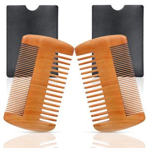Peigne à barbe en bois 2 Packs Set Pêche naturelle Moustache en bois peigne de toilettage avec étui en cuir anti-statique double face peigne de poche pour les hommes