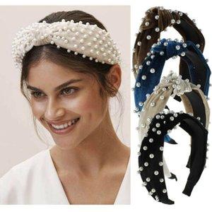 2019 Inci Kadife Kafa Bandı Hoop Saç Kravat Düğüm Hairband Knot Inci ile Geniş Hairband Düğümlü Hairband özelleştirilmiş Saç Aksesuarları