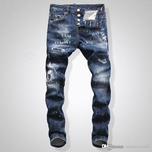jeans da uomo degli uomini del progettista lavano tendenza vernice spray jeans sottili micro-bomba i pantaloni di modo dei pantaloni di lusso