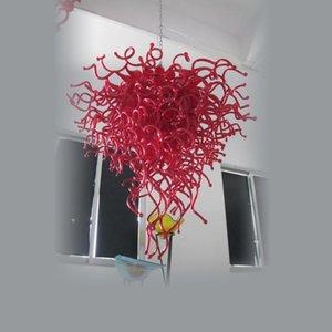 Forme Rouge moderne Pendentif Led Livingroom Art Déco 100% Bouche soufflé à la main de luxe en verre borosilicate Blown Light Chandelier à vendre