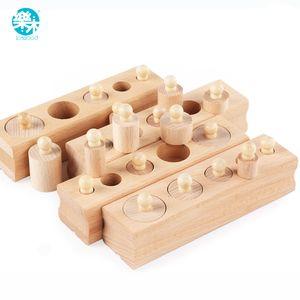 Logwood Rus depo Ahşap oyuncakları Montessori Eğitim Silindir Soket Blokları Oyuncak Bebek Gelişimi Uygulama ve Duyular CX200609