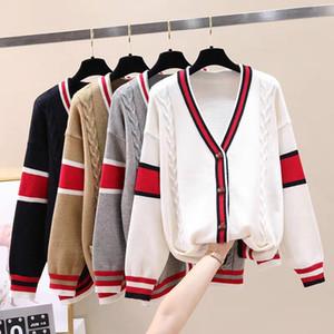 2020 Diseñador rebecas blanco / gris / Khaki / Negro cuello corto de manga larga de las mujeres rayadas Imprimir suéteres para mujer 880992