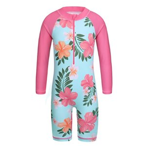 Baohulu Mavi Çiçek Uzun Kollu Kızlar Mayo One Piece Çocuk Yüzme UPF50 + Mayo Çocuk 4-11 yaşında Döküntü Muhafızlar Suits