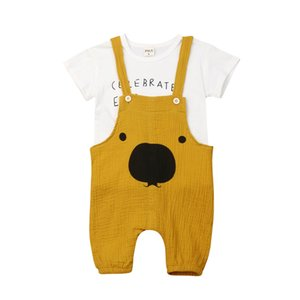 Lovely Infant Kids Baby Girls Girls Boys Sets Conjuntos Carta Tops blancos Camisa Pantalones casuales Oso Trajes generales Verano