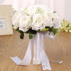 novia con flores que sostienen la mano de la boda ramos de flores artificiales de Europa de la mano de la boda de gama alta de los suministros al por mayor ramos de novia