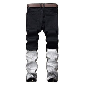 Hip hop skinny jeans men patchwork color black and white ripped jeans trousers zipper coating BIKER Jeans casual denim pants