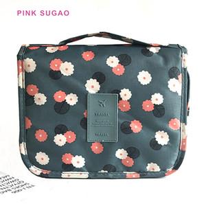 Pinksugao femmes sacs cosmétiques de stockage de tissu Oxford impression sac de lavage portable grand sac de maquillage Voyage sac cosmétique imperméable à l'eau