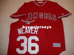 """baseball a buon mercato # 36 Jered Weaver """"COOL BASE"""" camicia di maglia rossa Mens cucita maglie grande e grosso formato XS-6XL In vendita"""
