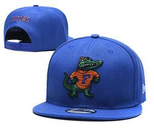 Atacado Florida Gators NCAA Snapback EUA Colégio Letter D Logo Couro Design Homens baratos Caps ajustáveis em Orange Cor Azul