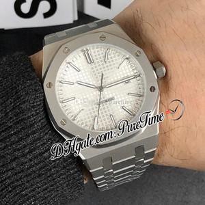 Real 15400 Automatic Mens A2813 Assista Silve Textura Dial pulseira de aço furar marcadores inoxidável Sapphire Relógios New Puretime E122b2