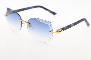 Fashion Glasobjektiv 3524012 Marmor Blau Plank Sonnenbrille Qualitäts-Sonnenbrillen für Männer Brille Metall Unisex Sun C Dekoration Gold-Brille