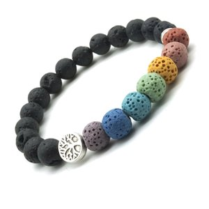 Tree of Life 8mm Colorful Seven Chakras Black Lava Stone Bracelet DIY  Essential Oil Diffuser Bracelet Yoga Jewelry