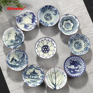 4pcs / Set bleu et blanc en porcelaine tasse de thé, -Peint Cône main Teacup, Teacups Pattern style chinois, thé Accessoires Puer Cup Set
