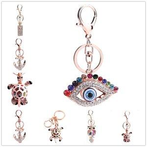 Designer cadeia bonito chave chaveiro garrafas de cristal Owl tartaruga perfume bonito chaveiro Mal Artificial Eye Keychain Bolsa Chaveiro