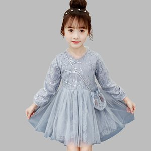 Dress Girl Lace Flower Girls Party Dress Fashion Mesh Kids Dresses With wallet Fall Chinese Style Girls Winter Dress New Year T200417