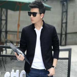 Designer Jackets Regular Length Zipper Stand Collar Coats Pure Color Long Sleeve Clothing Mens Casual Slim Outerwear with Pocket Mens