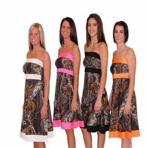 Camo Bridesmaid Dresses 2019 Strapless 무릎 길이 라인 짧은 결혼식 파티 드레스 명예 가운의 하녀 주니어 댄스 파티 드레스