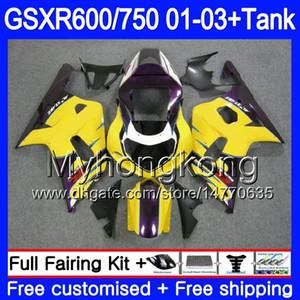 Purple yellow top+Tank For SUZUKI GSXR 600 750 GSXR-750 GSXR600 2001 2002 2003 294HM.63 GSX R750 R600 K1 GSX-R600 GSXR750 01 02 03 Fairing