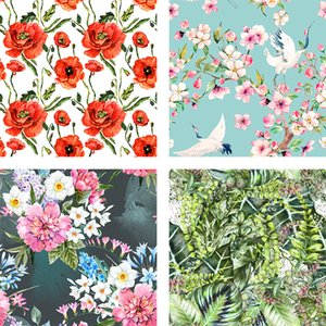 Stretch Polyester fabric high-grade multicolored floral fabric 3D Digital Printing Custom cloth diy Clothes Shirt patchwork