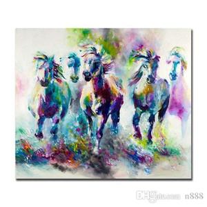 Colorato dipinto astratto Cavalli a mano Modern Home Decor astratta olio animale Pittura Su Canvas.Multi dimensioni / Frame Opzioni al-Dafe 200313