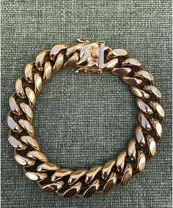 Mens Miami Cuban Link Bracelet Heavy 18k Gold Plated Stainless Steel 14mm Thick