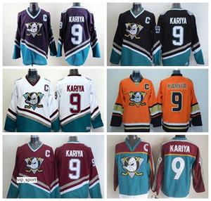 Anaheim Ducks Hombres 9 Paul Kariya Jersey Hockey sobre hielo Paul Kariya Vinatge Jerseys Cosido barato Mighty Purple Orange White Black