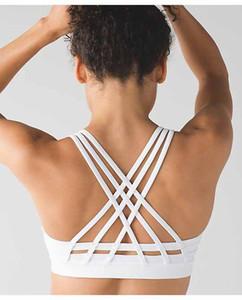 LU-20 nueva expresión Mujeres Deportes completa Flujo Y sujetador de línea larga de cuello alto Energía ojeada de Yoga entrenamiento gimnasia Backless atractivo del chaleco de la ropa interior atractiva de la señora
