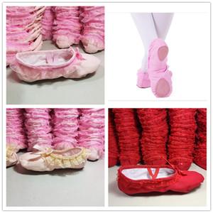 Les filles dentelle décoration Ballet Pumps ruban arc Toe chaussures enfants pratique ballet chaussures tissu de coton chaussures de danse pour bébé enfants juniors adultes