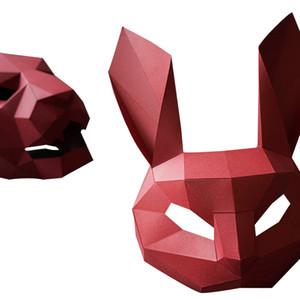 Diy модель бумага творческий кролик маски капот мужчин и женщин пары фото съемки реквизита партии способа маскарад партии маски