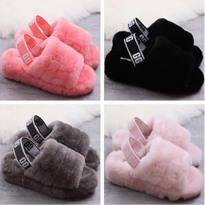 1 Noel kadınlar Kürklü Terlik Avustralya Fluff Evet designercasual Ayakkabılar botlar Moda Lüks Designer Kadınlar Sandalet Kürk Slaytlar Terlik Slide