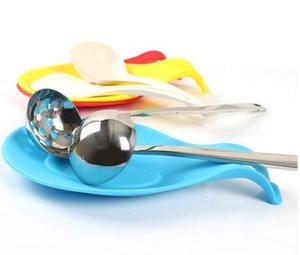 Silicone resistente ao calor Titular colher do descanso Utensílio Espátula Gadget Food Grade Armazenamento Cozinha Rack Ferramenta 19,5 * 9,5 centímetros 5color YSY265-L