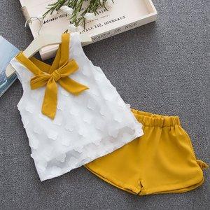 Meninas Urso Humor roupa do bebê da menina Hot Crianças de Verão Roupa Define crianças Bay roupas + calças da criança Chiffon casaco bowknot 1-4Y