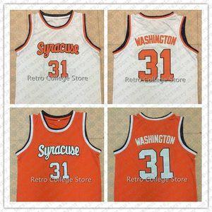 31 Дуэйн Pearl Washington Сиракузы Orange 1991 Колледж ретро Мужская Баскетбол Джерси прошитой любой номер и имя