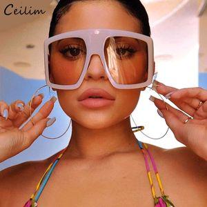 2020 mais novo Design Quadro Big Oversized Sunglasses Mulheres Grande Flat Top óculos de sol na moda Praça Gradiente Shades
