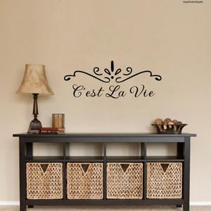 Наклейки Diy Французский Котировки C'est La Vie Wall Mural маркировочного винила Bedroom Home Decor Fq0013