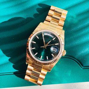Ouro DAYDATE Auto-liquidação Mecânica Movimento dos homens Relógios Pregas Bisel Escondida Dobrar Crown Fecho Dos Homens Marca de Relógio 118238