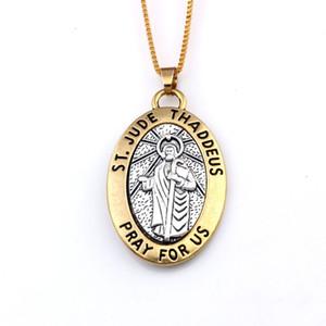 16 PC / Los ST JUDE THADDEUS Beten Sie für uns Medaille Religiösen ovaler Anhänger Halskette 23.6 Zoll 29.5x47.5mm Anhänger A-550d
